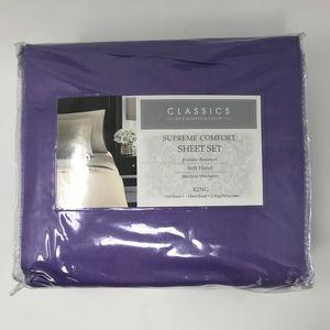King Sheet Set Purple Charter Club 300 Thread Coun
